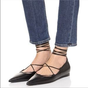 Michael Kors Black Leather Tabby Lace Up Flats